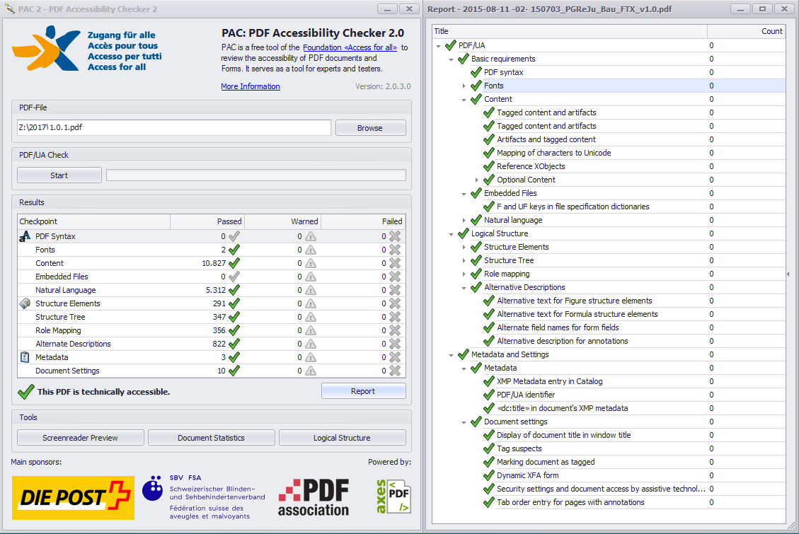 Screenshot vom PDF Accessibility Checker PAC 2